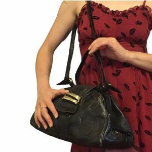Vtg Sharif Reptile Leather Convertible Doctor Bag